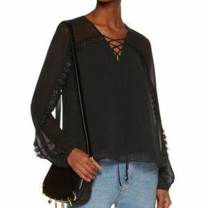 Haute Hippie Lace Trimmed Silk blouse